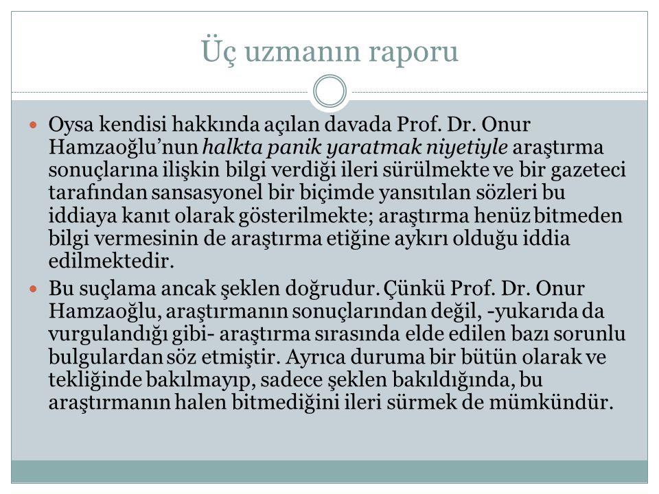 Üç uzmanın raporu  Oysa kendisi hakkında açılan davada Prof. Dr. Onur Hamzaoğlu'nun halkta panik yaratmak niyetiyle araştırma sonuçlarına ilişkin bil