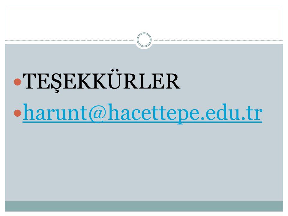  TEŞEKKÜRLER  harunt@hacettepe.edu.tr harunt@hacettepe.edu.tr