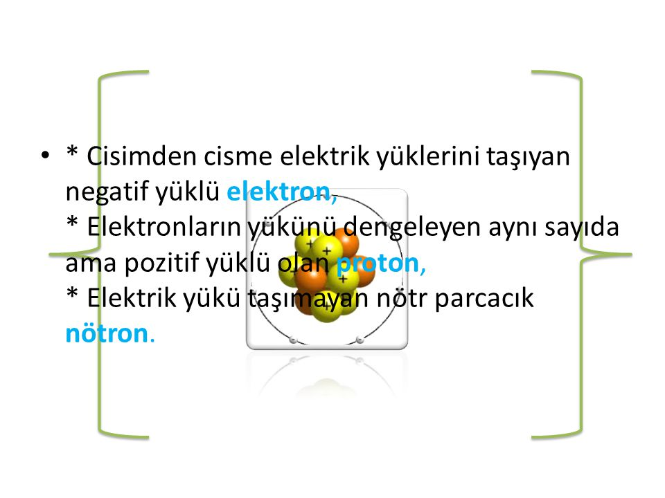 • * Cisimden cisme elektrik yüklerini taşıyan negatif yüklü elektron, * Elektronların yükünü dengeleyen aynı sayıda ama pozitif yüklü olan proton, * Elektrik yükü taşımayan nötr parcacık nötron.