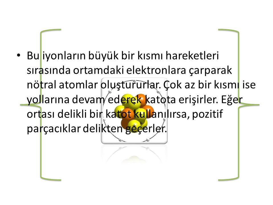 • Bu iyonların büyük bir kısmı hareketleri sırasında ortamdaki elektronlara çarparak nötral atomlar oluştururlar.