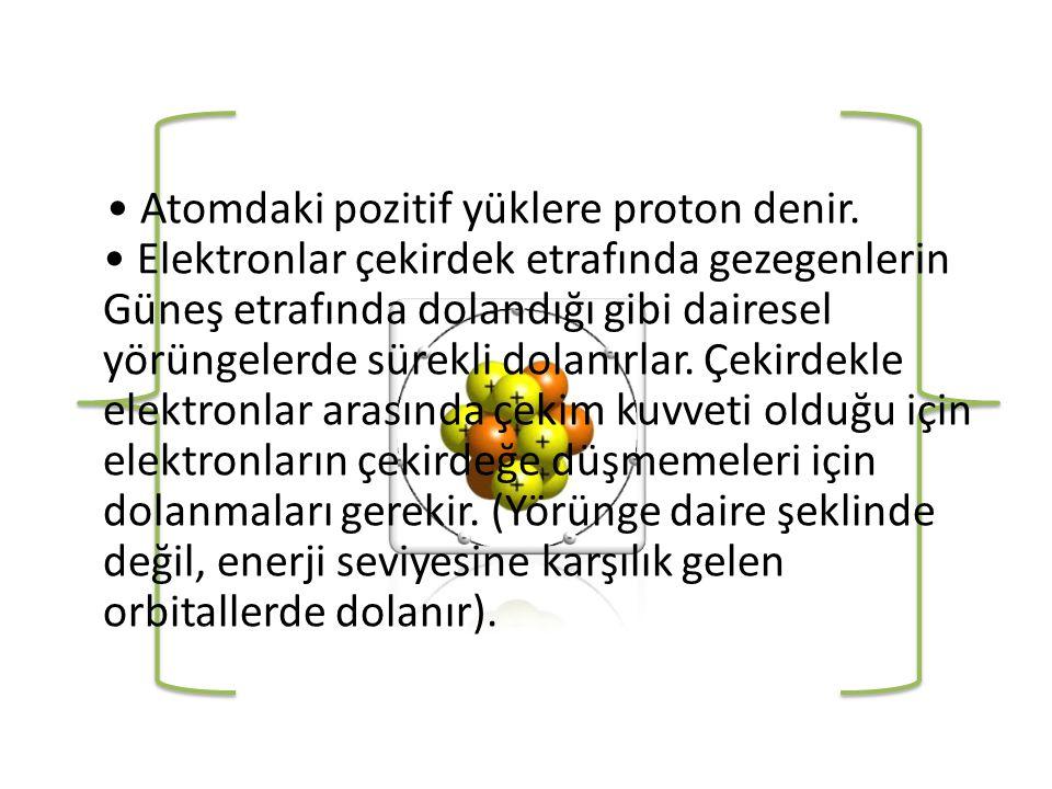 • Atomdaki pozitif yüklere proton denir.