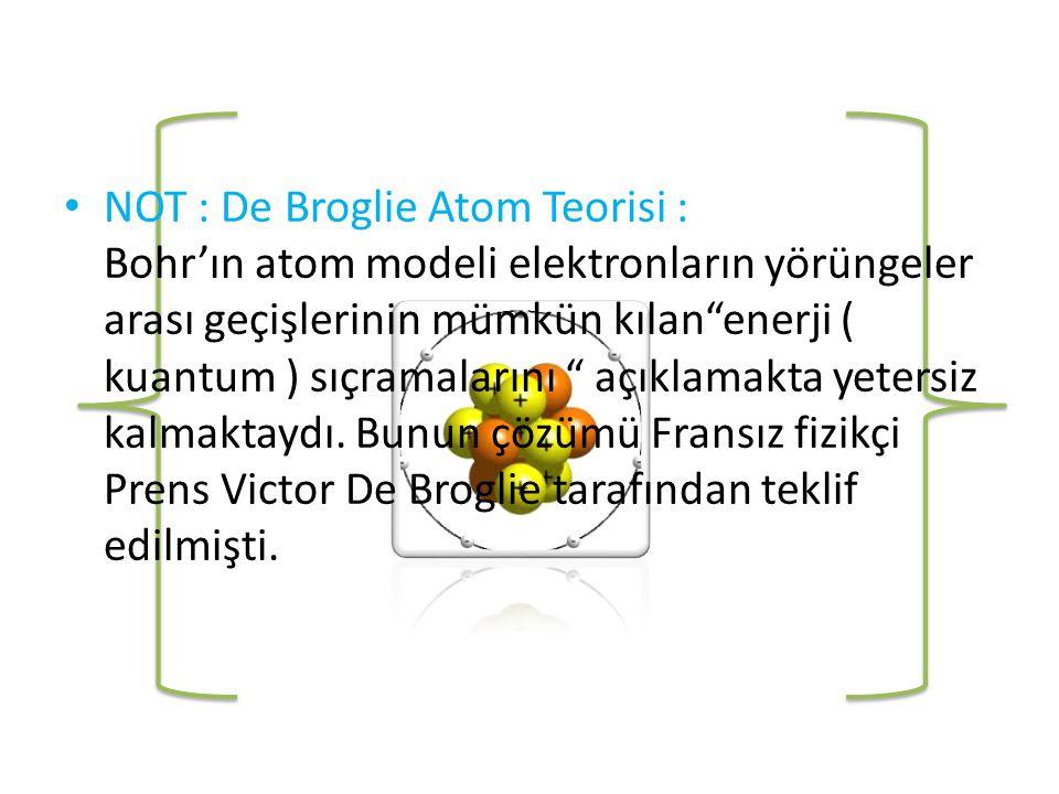 • NOT : De Broglie Atom Teorisi : Bohr'ın atom modeli elektronların yörüngeler arası geçişlerinin mümkün kılan enerji ( kuantum ) sıçramalarını açıklamakta yetersiz kalmaktaydı.