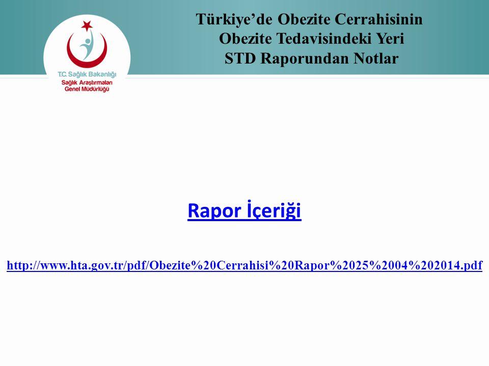 Türkiye'de Obezite Cerrahisinin Obezite Tedavisindeki Yeri STD Raporundan Notlar Rapor İçeriği http://www.hta.gov.tr/pdf/Obezite%20Cerrahisi%20Rapor%2