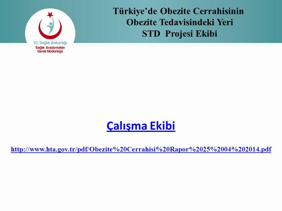 Türkiye'de Obezite Cerrahisinin Obezite Tedavisindeki Yeri STD Projesi Ekibi Çalışma Ekibi http://www.hta.gov.tr/pdf/Obezite%20Cerrahisi%20Rapor%2025%