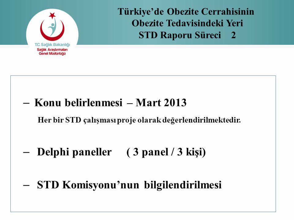 – Konu belirlenmesi – Mart 2013 Her bir STD çalışması proje olarak değerlendirilmektedir. – Delphi paneller ( 3 panel / 3 kişi) – STD Komisyonu'nun bi