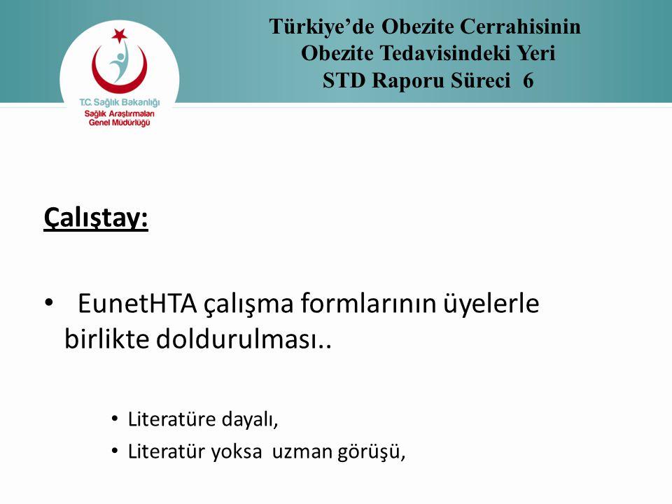 Türkiye'de Obezite Cerrahisinin Obezite Tedavisindeki Yeri STD Raporu Süreci 6 Çalıştay: • EunetHTA çalışma formlarının üyelerle birlikte doldurulması