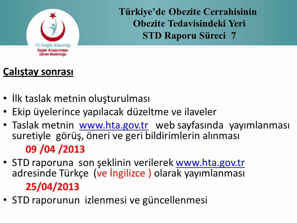 Türkiye'de Obezite Cerrahisinin Obezite Tedavisindeki Yeri STD Raporu Süreci 7 Çalıştay sonrası • İlk taslak metnin oluşturulması • Ekip üyelerince ya