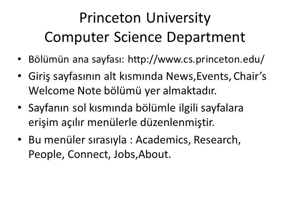 Princeton University Computer Science Department • Bölümün ana sayfası: http://www.cs.princeton.edu/ • Giriş sayfasının alt kısmında News,Events, Chai
