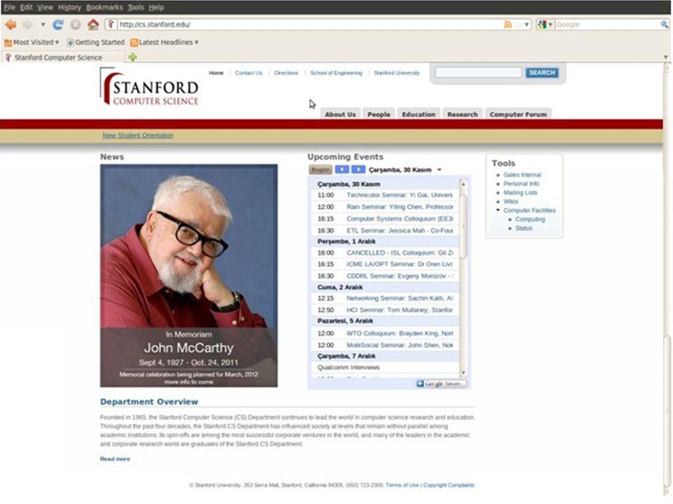 Princeton University Computer Science Department • Bölümün ana sayfası: http://www.cs.princeton.edu/ • Giriş sayfasının alt kısmında News,Events, Chair's Welcome Note bölümü yer almaktadır.