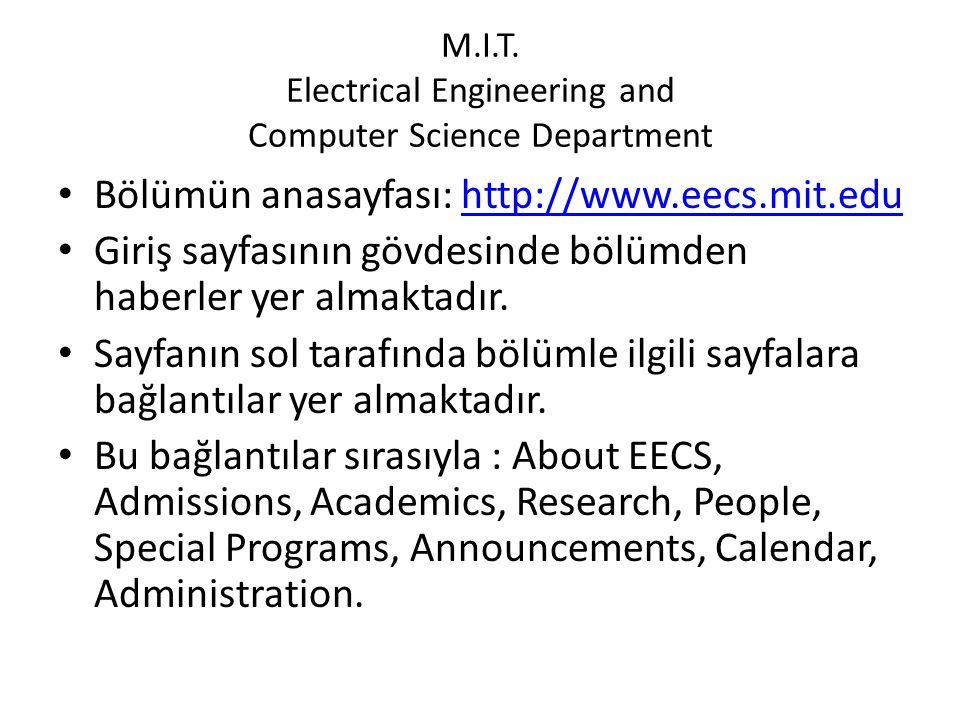 Carnegie Mellon University Electrical and Computer Engineering Department • Bölümün anasayfası: http://www.ece.cmu.eduhttp://www.ece.cmu.edu • Giriş sayfasının üst bölümünde bölümle ilgili sayfalara bağlantılar ana başlıklar halinde sıralanmıştır.