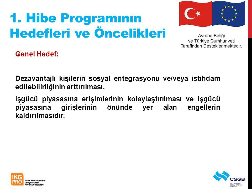 1. Hibe Programının Hedefleri ve Öncelikleri Genel Hedef: Dezavantajlı kişilerin sosyal entegrasyonu ve/veya istihdam edilebilirliğinin arttırılması,