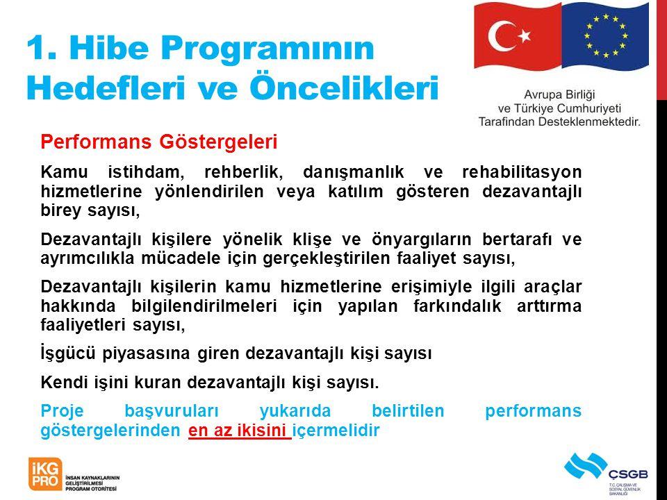 1. Hibe Programının Hedefleri ve Öncelikleri Performans Göstergeleri Kamu istihdam, rehberlik, danışmanlık ve rehabilitasyon hizmetlerine yönlendirile