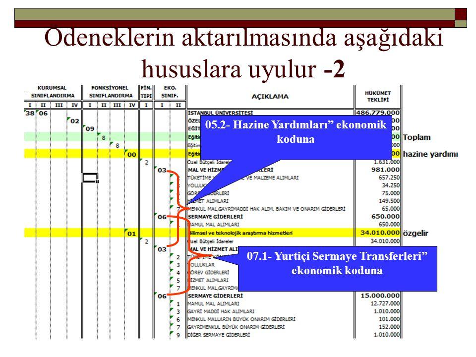 """Ödeneklerin aktarılmasında aşağıdaki hususlara uyulur -2 05.2- Hazine Yardımları"""" ekonomik koduna 07.1- Yurtiçi Sermaye Transferleri"""" ekonomik koduna"""