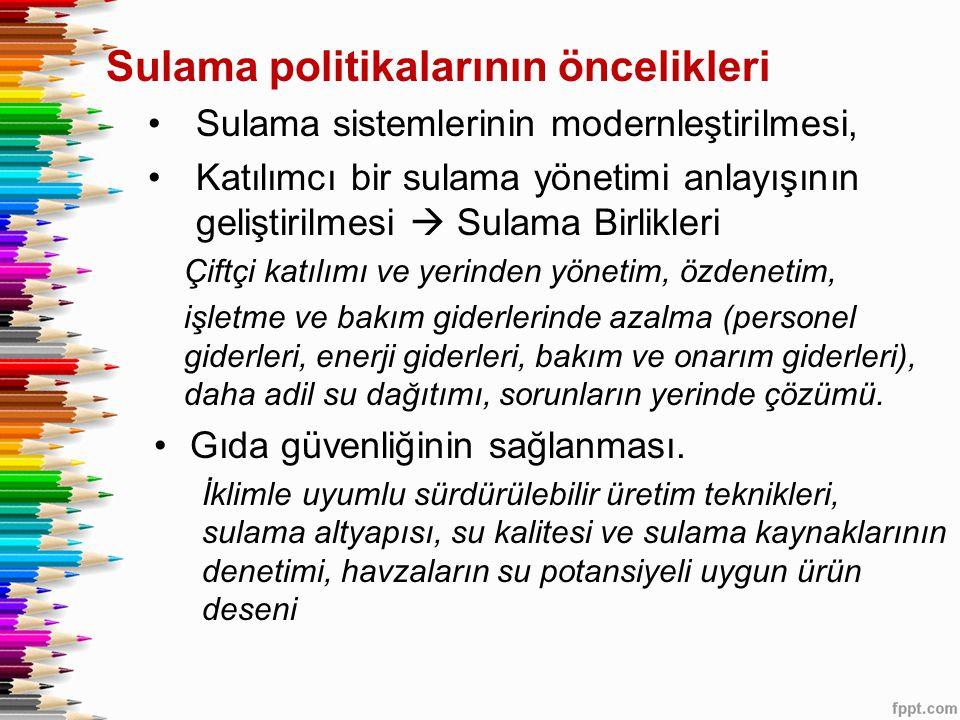 Sulama politikalarının öncelikleri •Sulama sistemlerinin modernleştirilmesi, •Katılımcı bir sulama yönetimi anlayışının geliştirilmesi  Sulama Birlik