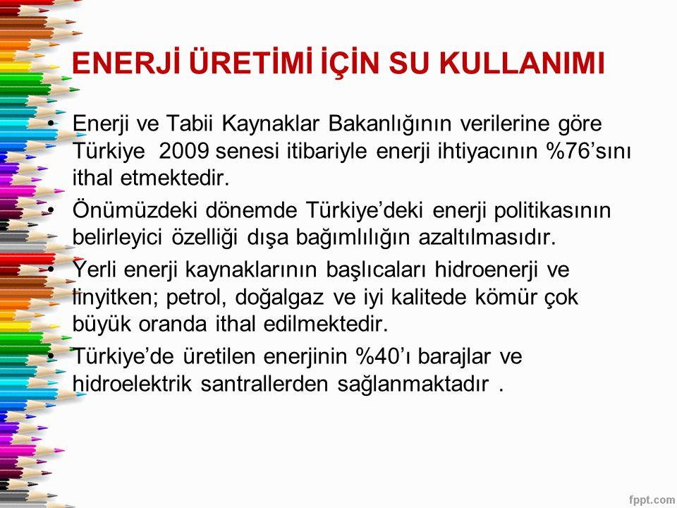 ENERJİ ÜRETİMİ İÇİN SU KULLANIMI •Enerji ve Tabii Kaynaklar Bakanlığının verilerine göre Türkiye 2009 senesi itibariyle enerji ihtiyacının %76'sını ithal etmektedir.
