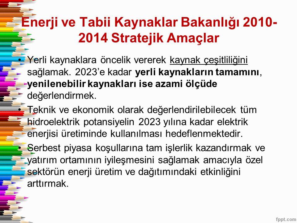Enerji ve Tabii Kaynaklar Bakanlığı 2010- 2014 Stratejik Amaçlar •Yerli kaynaklara öncelik vererek kaynak çeşitliliğini sağlamak.