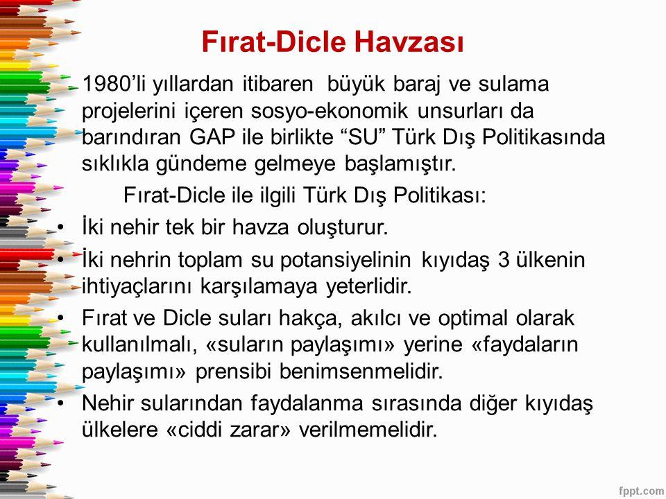 Fırat-Dicle Havzası 1980'li yıllardan itibaren büyük baraj ve sulama projelerini içeren sosyo-ekonomik unsurları da barındıran GAP ile birlikte SU Türk Dış Politikasında sıklıkla gündeme gelmeye başlamıştır.