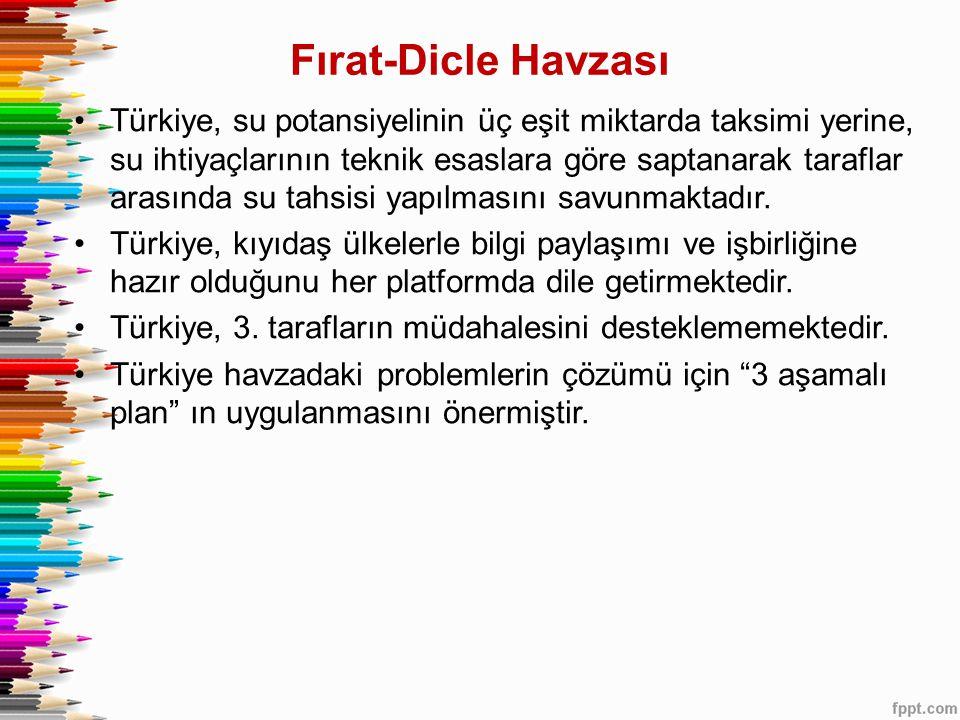 •Türkiye, su potansiyelinin üç eşit miktarda taksimi yerine, su ihtiyaçlarının teknik esaslara göre saptanarak taraflar arasında su tahsisi yapılmasın