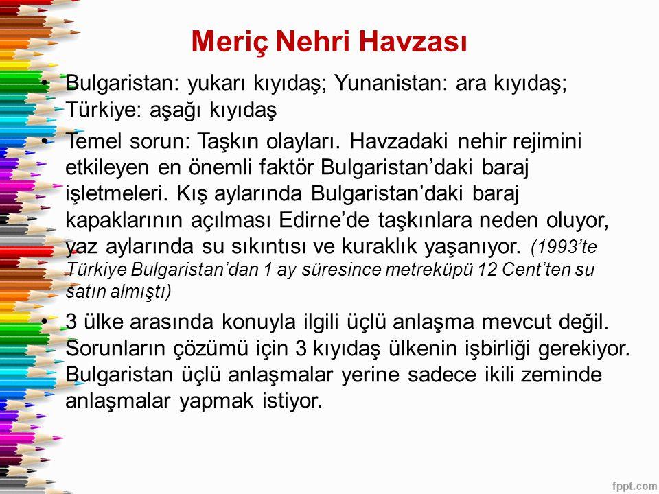 Meriç Nehri Havzası •Bulgaristan: yukarı kıyıdaş; Yunanistan: ara kıyıdaş; Türkiye: aşağı kıyıdaş •Temel sorun: Taşkın olayları. Havzadaki nehir rejim
