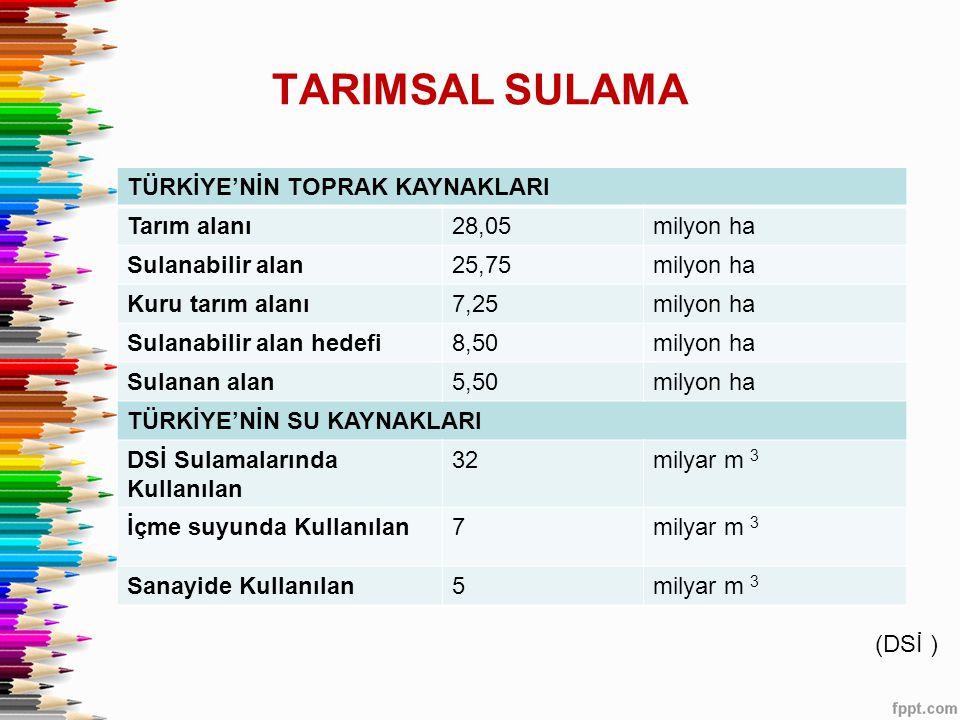 TARIMSAL SULAMA TÜRKİYE'NİN TOPRAK KAYNAKLARI Tarım alanı28,05milyon ha Sulanabilir alan25,75milyon ha Kuru tarım alanı7,25milyon ha Sulanabilir alan