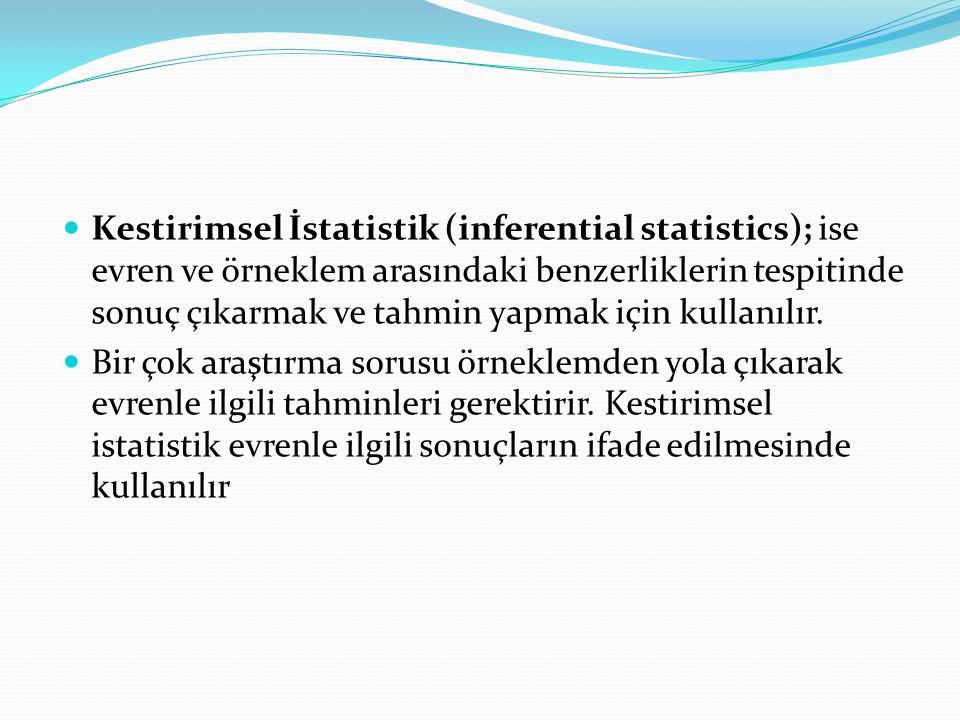  Kestirimsel İstatistik (inferential statistics); ise evren ve örneklem arasındaki benzerliklerin tespitinde sonuç çıkarmak ve tahmin yapmak için kul