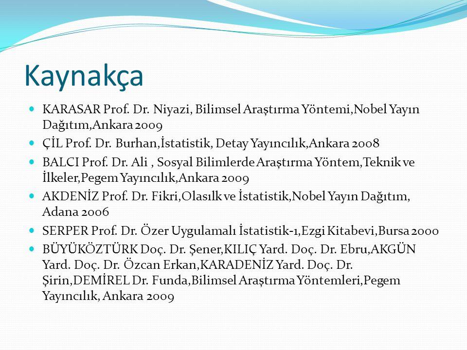 Kaynakça  KARASAR Prof. Dr. Niyazi, Bilimsel Araştırma Yöntemi,Nobel Yayın Dağıtım,Ankara 2009  ÇİL Prof. Dr. Burhan,İstatistik, Detay Yayıncılık,An