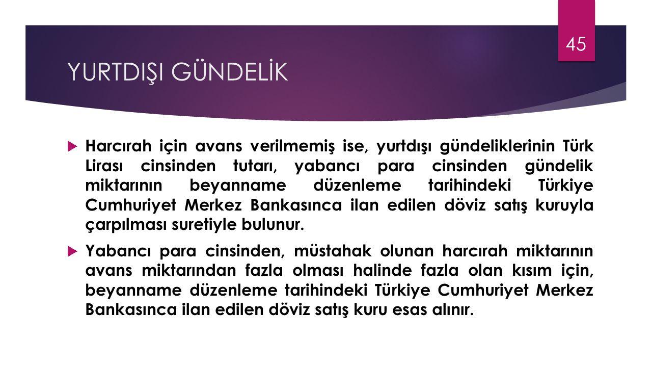 YURTDIŞI GÜNDELİK  Harcırah için avans verilmemiş ise, yurtdışı gündeliklerinin Türk Lirası cinsinden tutarı, yabancı para cinsinden gündelik miktarı