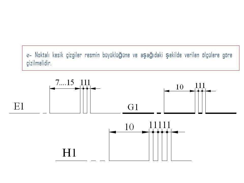 e- Noktalı kesik çizgiler resmin büyüklü ğ üne ve a ş a ğ ıdaki ş ekilde verilen ölçülere göre çizilmelidir.