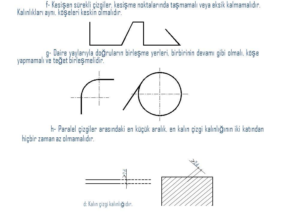 f- Kesi ş en sürekli çizgiler, kesi ş me noktalarında ta ş mamalı veya eksik kalmamalıdır. Kalınlıkları aynı, kö ş eleri keskin olmalıdır. g- Daire ya