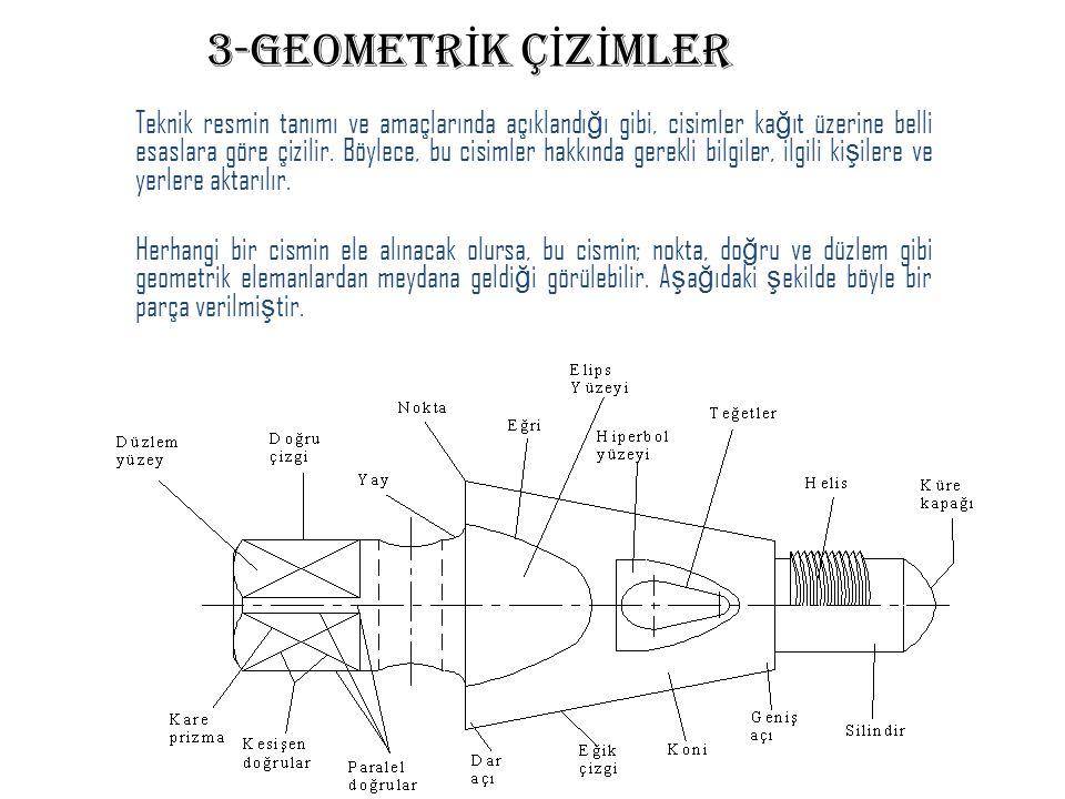 3-GEOMETR İ K Ç İ Z İ MLER Teknik resmin tanımı ve amaçlarında açıklandı ğ ı gibi, cisimler ka ğ ıt üzerine belli esaslara göre çizilir. Böylece, bu c