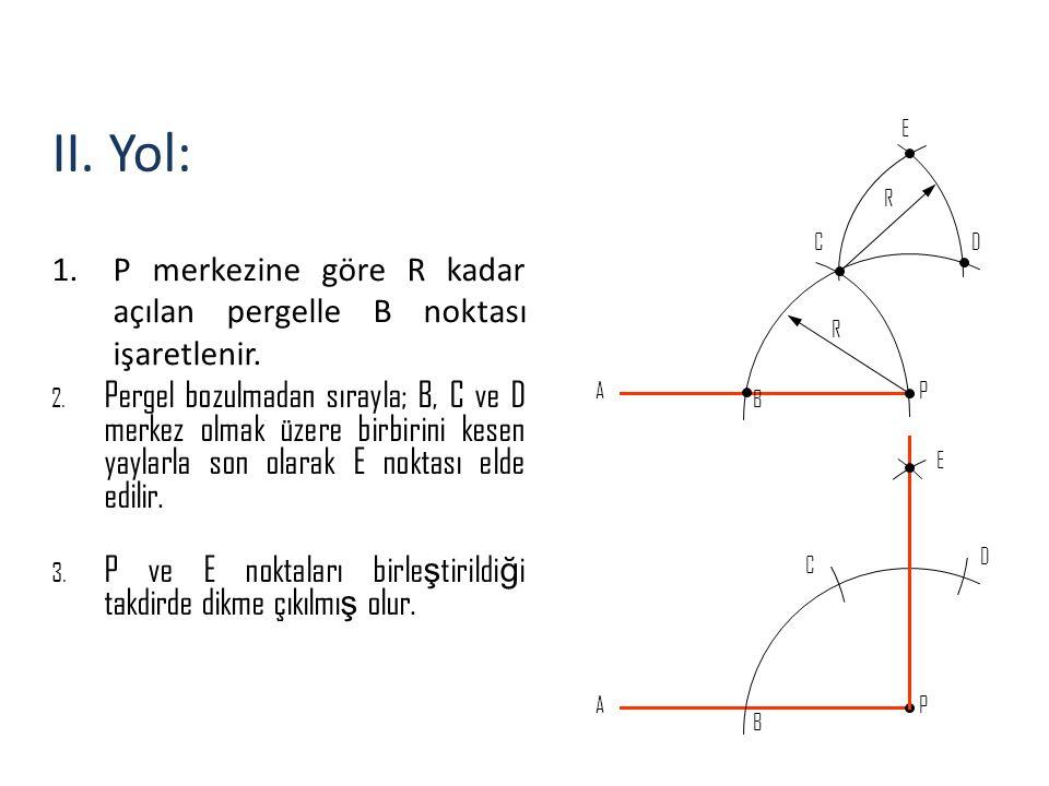 II. Yol: 1.P merkezine göre R kadar açılan pergelle B noktası işaretlenir. 2. Pergel bozulmadan sırayla; B, C ve D merkez olmak üzere birbirini kesen