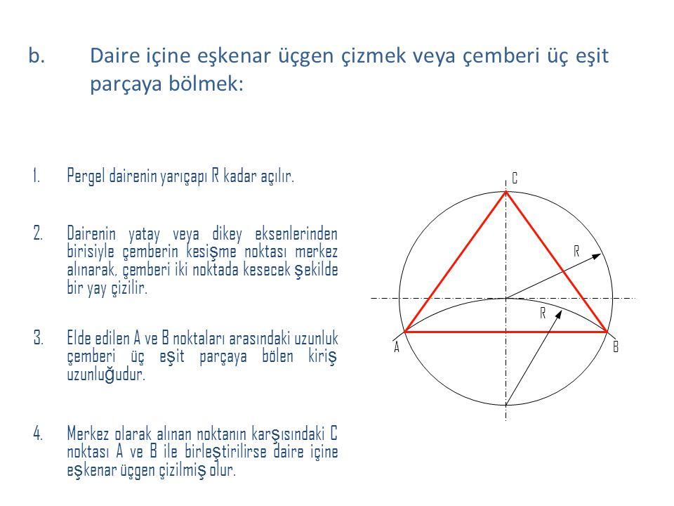 1.Pergel dairenin yarıçapı R kadar açılır. 2.Dairenin yatay veya dikey eksenlerinden birisiyle çemberin kesi ş me noktası merkez alınarak, çemberi iki