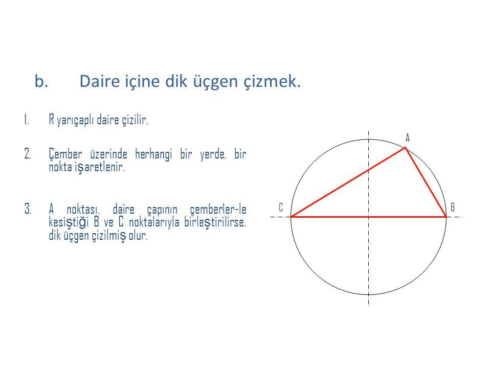1.R yarıçaplı daire çizilir. 2.Çember üzerinde herhangi bir yerde, bir nokta i ş aretlenir. 3.A noktası, daire çapının çemberler-le kesi ş ti ğ i B ve