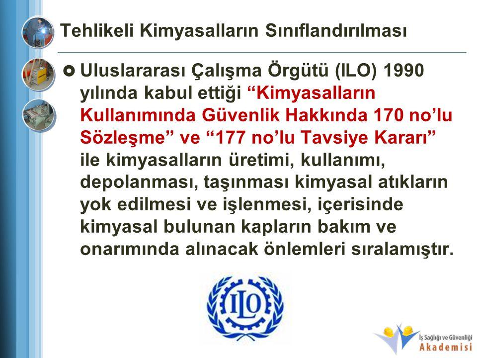 """Tehlikeli Kimyasalların Sınıflandırılması  Uluslararası Çalışma Örgütü (ILO) 1990 yılında kabul ettiği """"Kimyasalların Kullanımında Güvenlik Hakkında"""