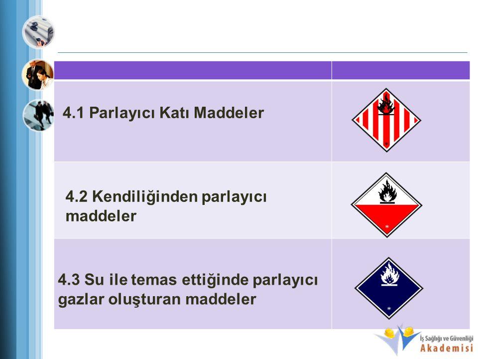 4.1 Parlayıcı Katı Maddeler 4.2 Kendiliğinden parlayıcı maddeler 4.3 Su ile temas ettiğinde parlayıcı gazlar oluşturan maddeler