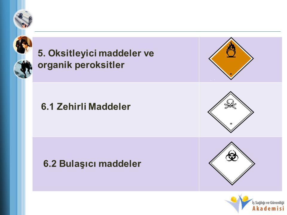 5. Oksitleyici maddeler ve organik peroksitler 6.1 Zehirli Maddeler 6.2 Bulaşıcı maddeler