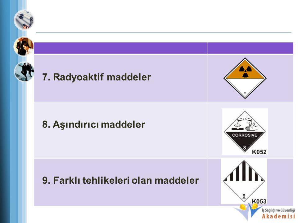 7. Radyoaktif maddeler 8. Aşındırıcı maddeler 9. Farklı tehlikeleri olan maddeler