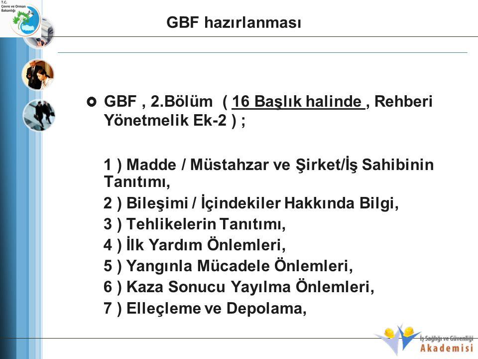  GBF, 2.Bölüm ( 16 Başlık halinde, Rehberi Yönetmelik Ek-2 ) ; 1 ) Madde / Müstahzar ve Şirket/İş Sahibinin Tanıtımı, 2 ) Bileşimi / İçindekiler Hakk