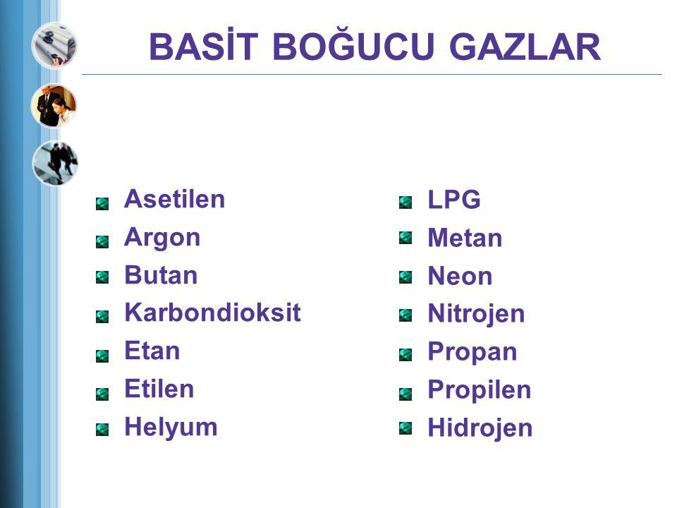 BASİT BOĞUCU GAZLAR Asetilen Argon Butan Karbondioksit Etan Etilen Helyum LPG Metan Neon Nitrojen Propan Propilen Hidrojen