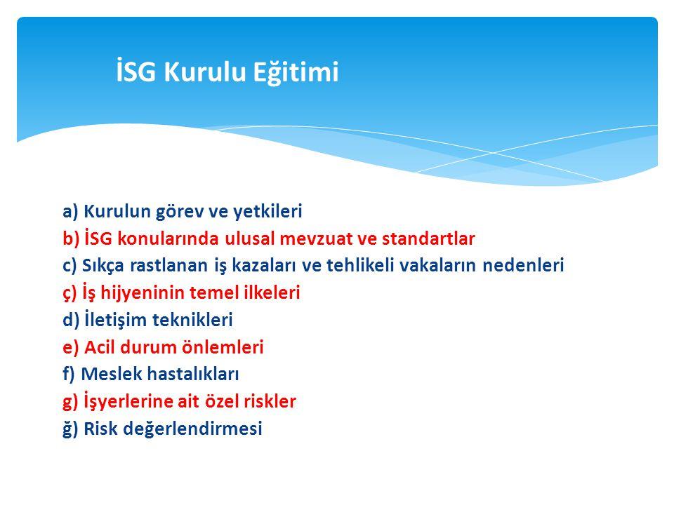 a) Kurulun görev ve yetkileri b) İSG konularında ulusal mevzuat ve standartlar c) Sıkça rastlanan iş kazaları ve tehlikeli vakaların nedenleri ç) İş h