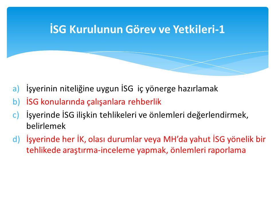 a)İşyerinin niteliğine uygun İSG iç yönerge hazırlamak b)İSG konularında çalışanlara rehberlik c)İşyerinde İSG ilişkin tehlikeleri ve önlemleri değerl