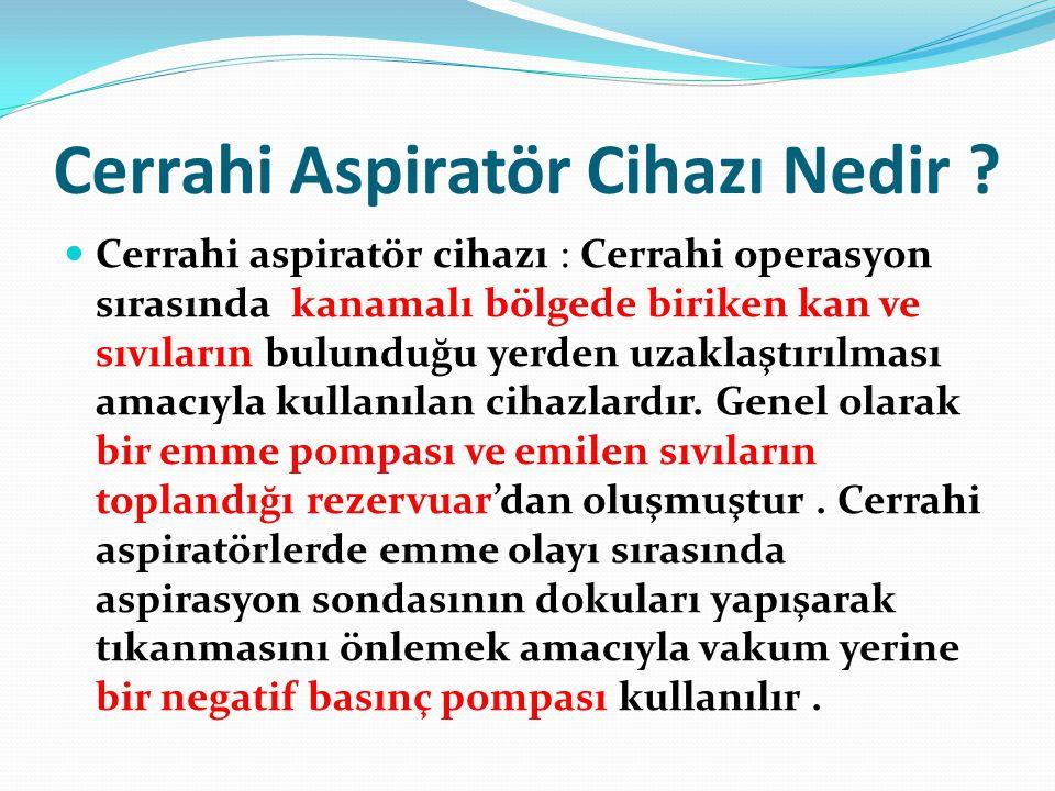 Cerrahi Aspiratör Cihazı Nedir ?  Cerrahi aspiratör cihazı : Cerrahi operasyon sırasında kanamalı bölgede biriken kan ve sıvıların bulunduğu yerden u