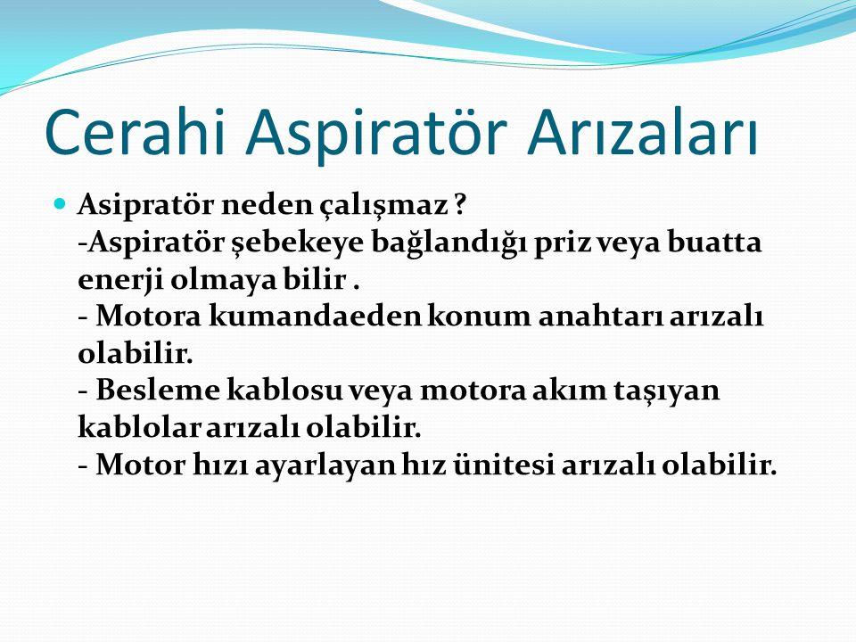 Aspiratör Arıza Çeşitleri  Çözüm : Aspiratör şebekeye bağlandığı yerden gerilim ölçümü yapılır.