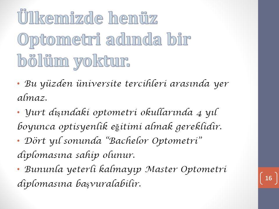 • Bu yüzden üniversite tercihleri arasında yer almaz.