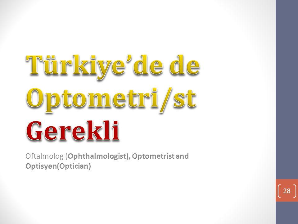 Oftalmolog (Ophthalmologist), Optometrist and Optisyen(Optician) 28