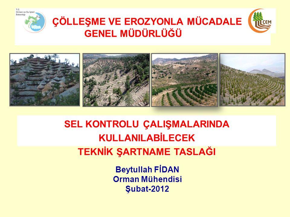 SEL KONTROLU ÇALIŞMALARINDA KULLANILABİLECEK TEKNİK ŞARTNAME TASLAĞI ÇÖLLEŞME VE EROZYONLA MÜCADALE GENEL MÜDÜRLÜĞÜ Beytullah FİDAN Orman Mühendisi Şubat-2012