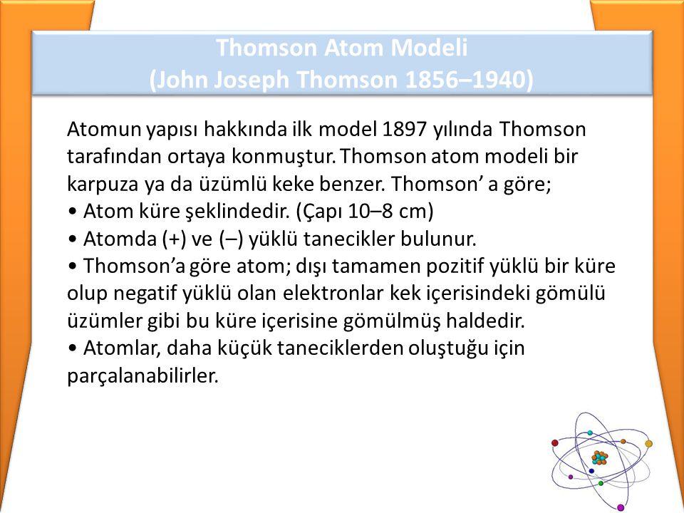 Thomson Atom Modeli (John Joseph Thomson 1856–1940) Thomson Atom Modeli (John Joseph Thomson 1856–1940) Atomun yapısı hakkında ilk model 1897 yılında