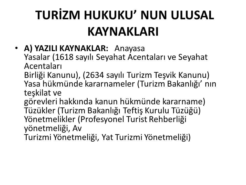 • B) YAZISIZ KAYNAKLAR: Örf, adet ve gelenek hukuk kuralları