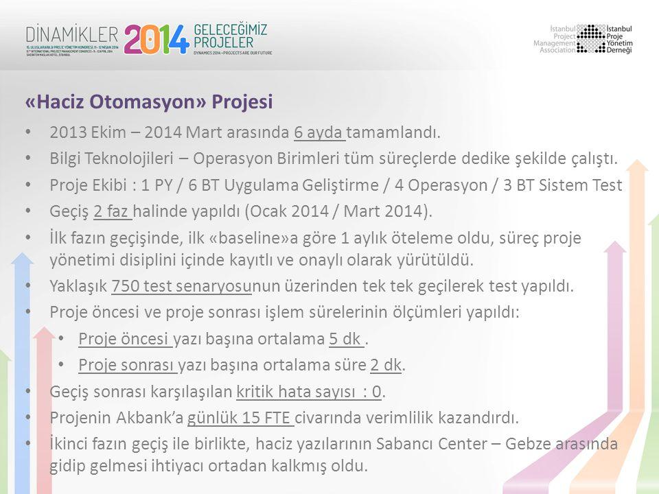 • 2013 Ekim – 2014 Mart arasında 6 ayda tamamlandı. • Bilgi Teknolojileri – Operasyon Birimleri tüm süreçlerde dedike şekilde çalıştı. • Proje Ekibi :