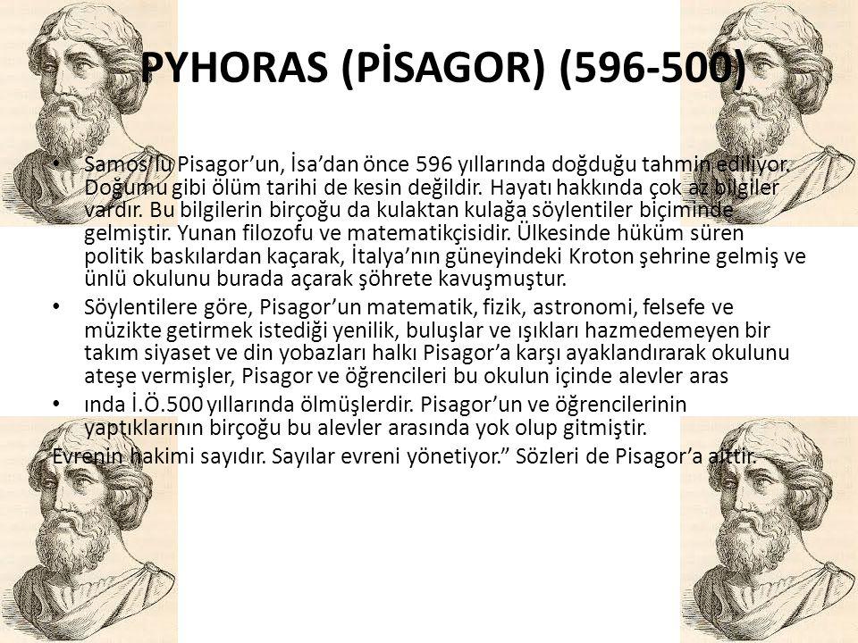 • Samos'lu Pisagor'un, İsa'dan önce 596 yıllarında doğduğu tahmin ediliyor. Doğumu gibi ölüm tarihi de kesin değildir. Hayatı hakkında çok az bilgiler